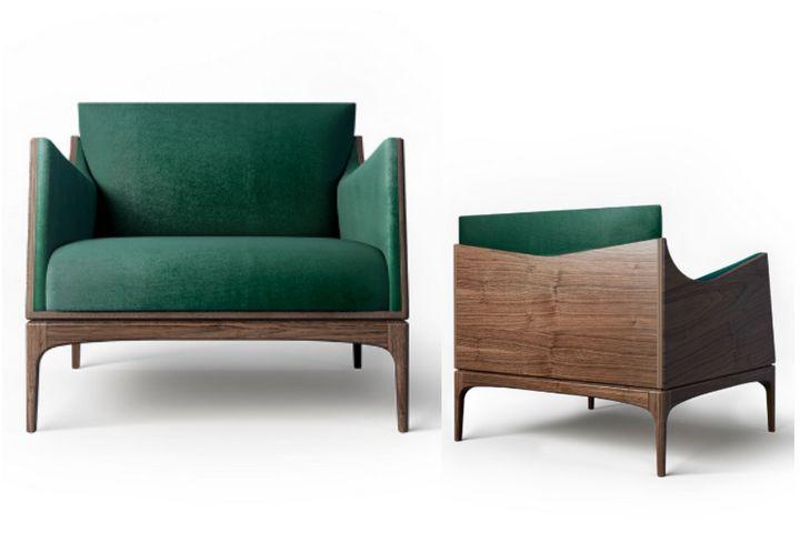 Кресло Tynd с зеленой обивкой и основанием из орехового дерева