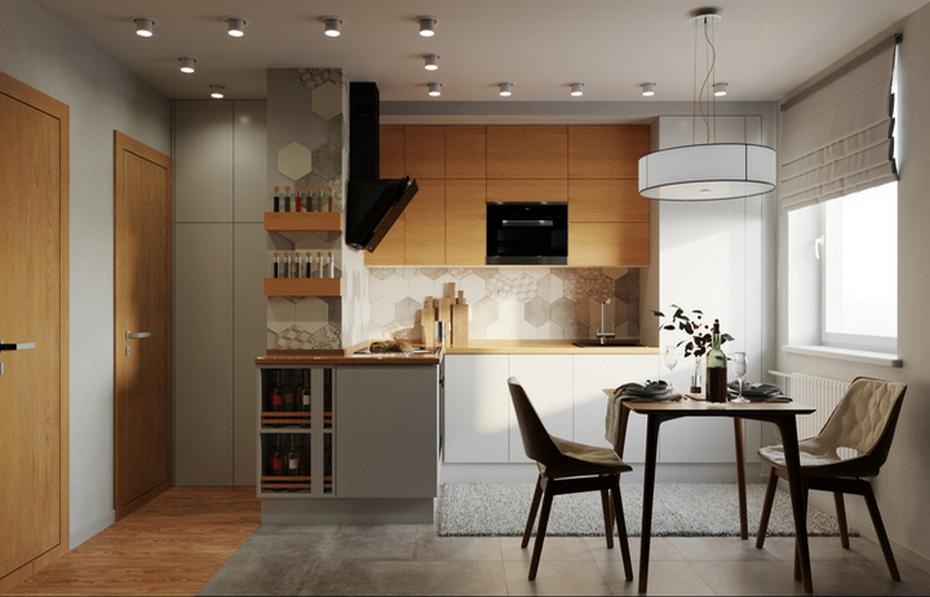 Кухня с геометричной плиткой и деревянными элементами