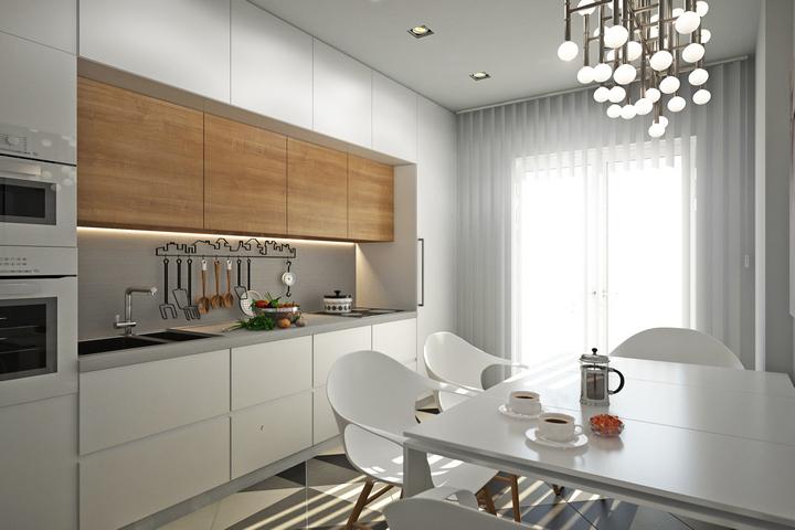 Кухня белого цвета с деревянным элементом
