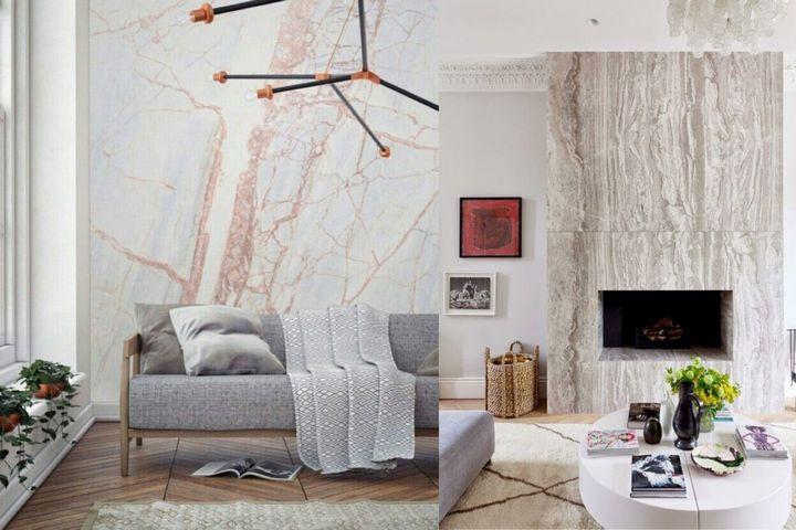 Мраморная стена в сканди-стиле