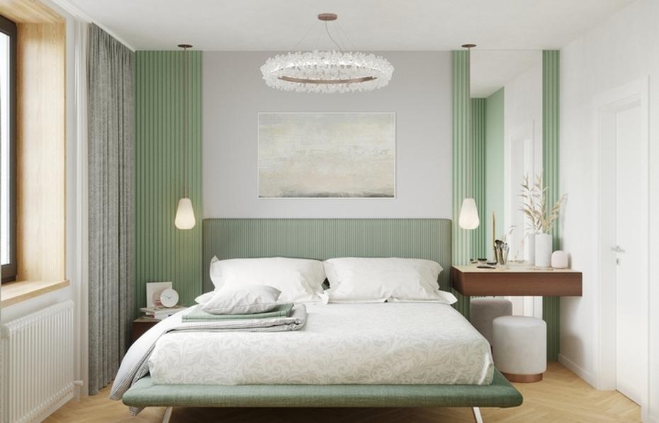 Спальня с кроватью на ножках