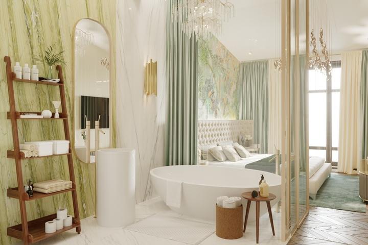 Контрастная корпусная мебель в ванной комнате