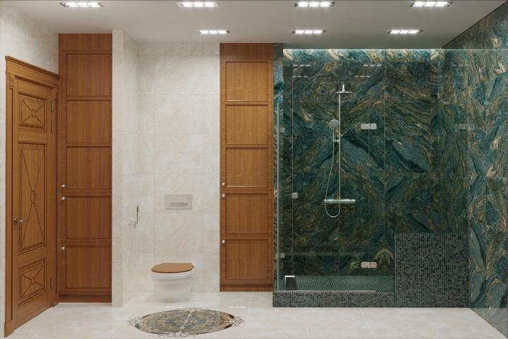 Зеленый мрамор в ванной комнате