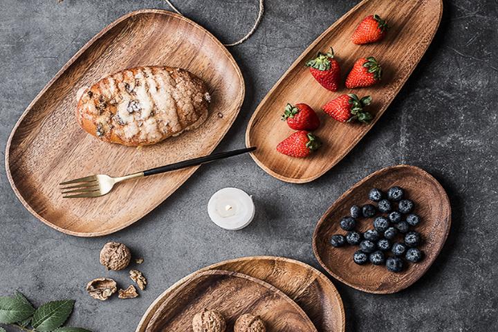 Деревянная тарелка для закусок