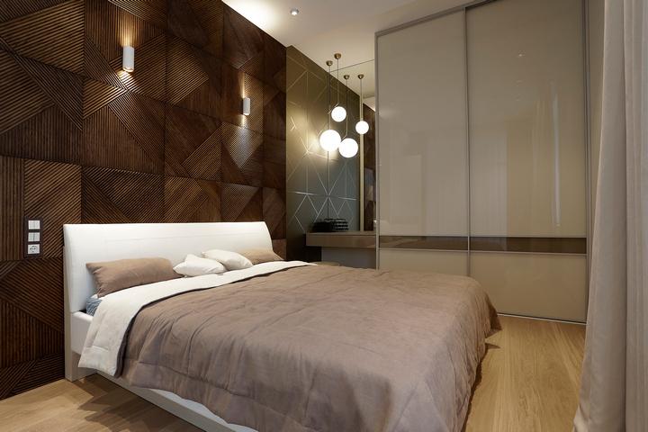 Деревянная панель за кроватью
