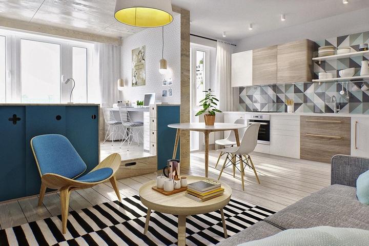 Частичные стены и подиум в квартире