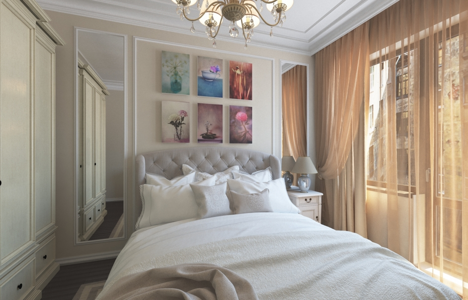 Скрытый карниз в спальне