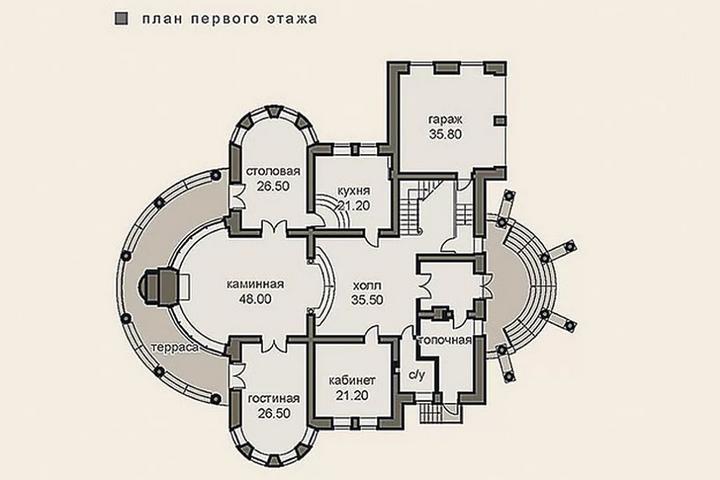План первого этажа особняка