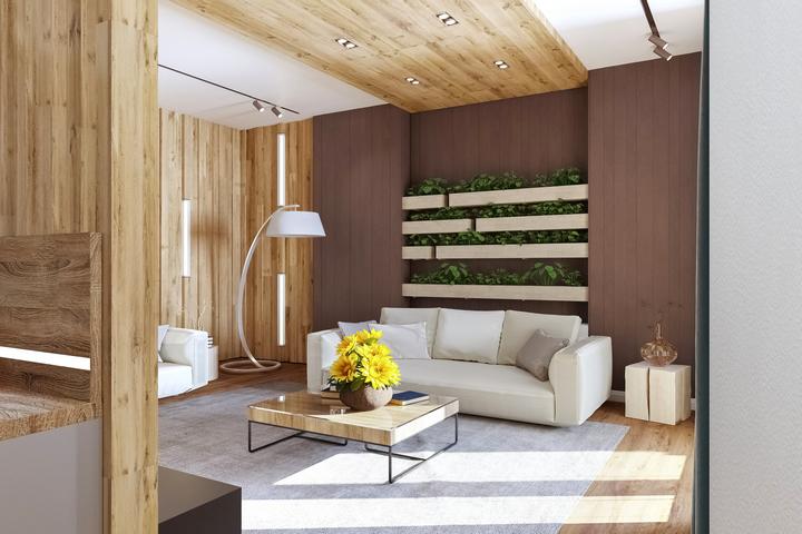 Акцентная стена за диваном по оси симметрии
