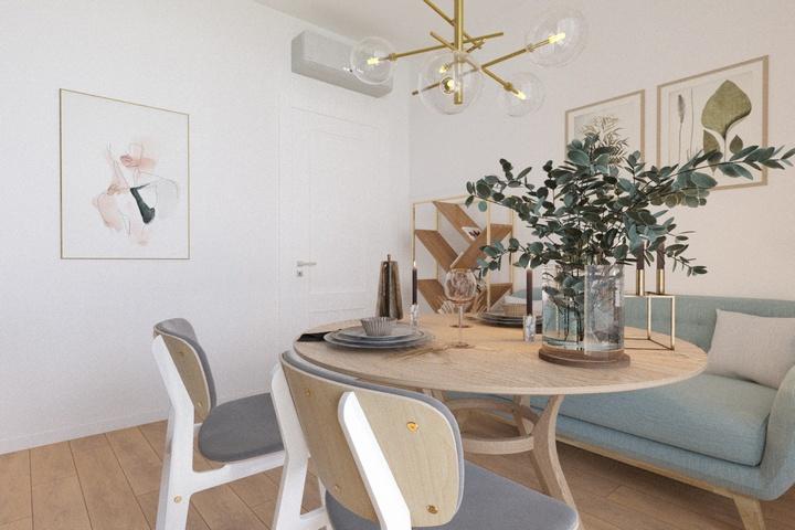 Зеленые растения в столовой-гостиной