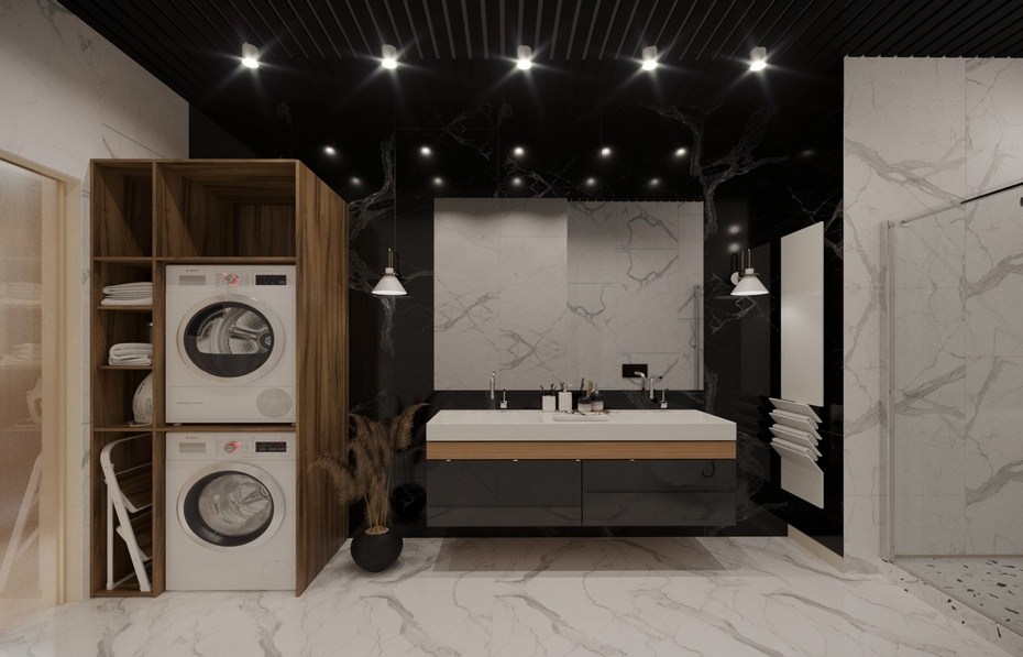 Ванная комната с зоной для стирки