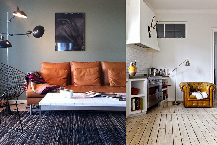 Современные интерьеры с кожаной мебелью