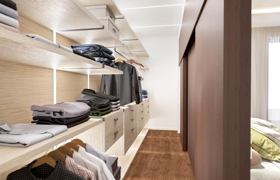 Скрытая гардеробная в спальне