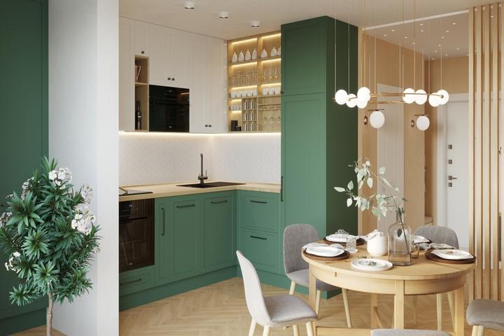 Зеленые и белые фасады кухни