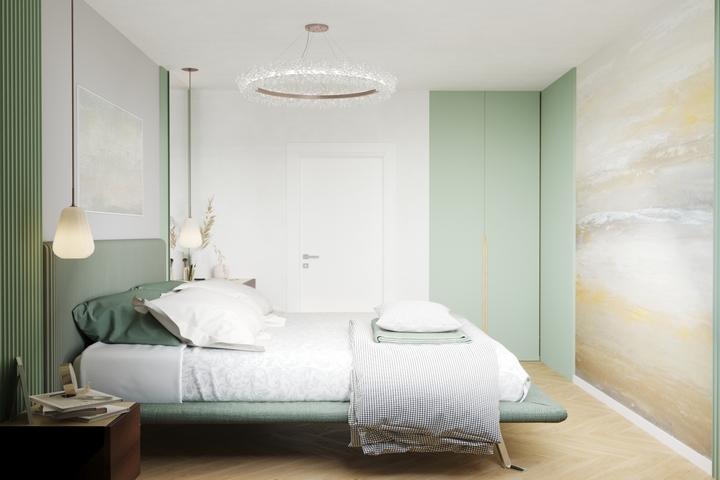 Яркая спальня с декоративными обоями