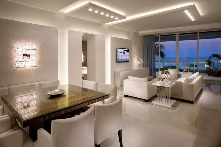 Продуманный дизайн освещения в столовой-гостиной