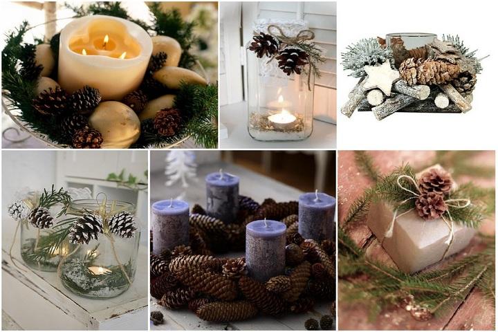 Свечи с новогодним декором