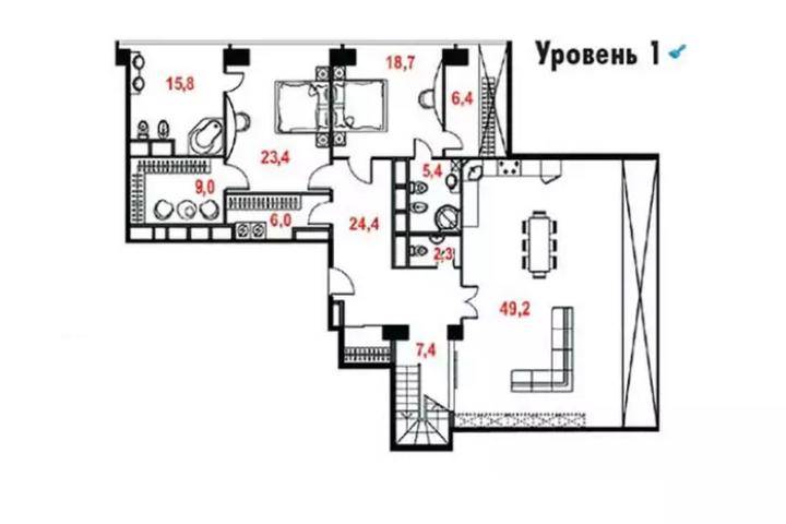Планировка первого уровня квартиры