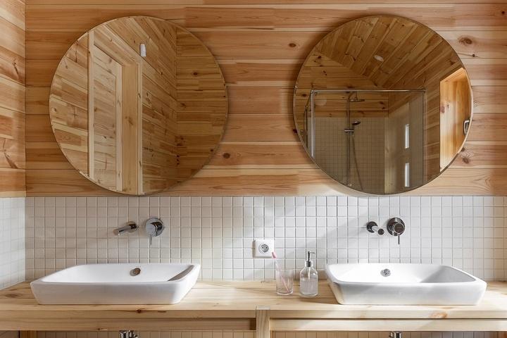 Горизонтальная вагонка в ванной