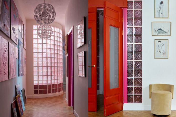 Французские красные двери и стеклянные стены