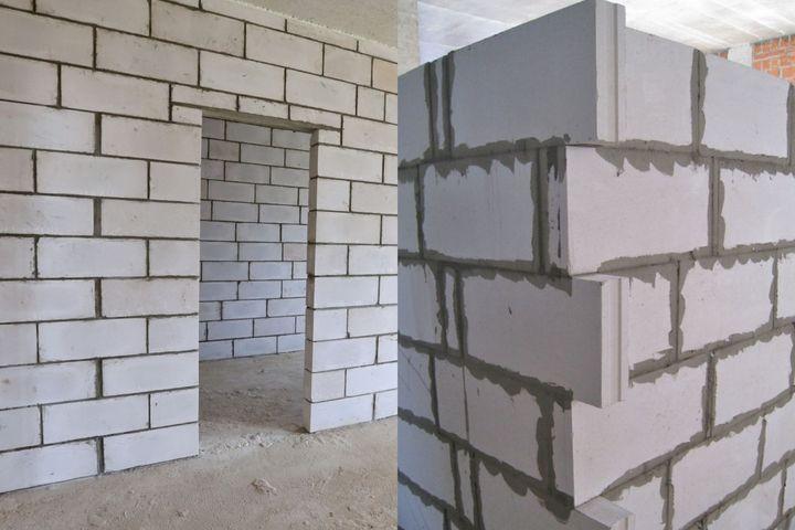 Перегородки из пенобетона слева и силикатные пазогребневые блоки с шип-пазом справа