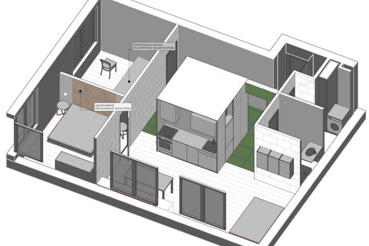 Планировка с кубом в общей комнате