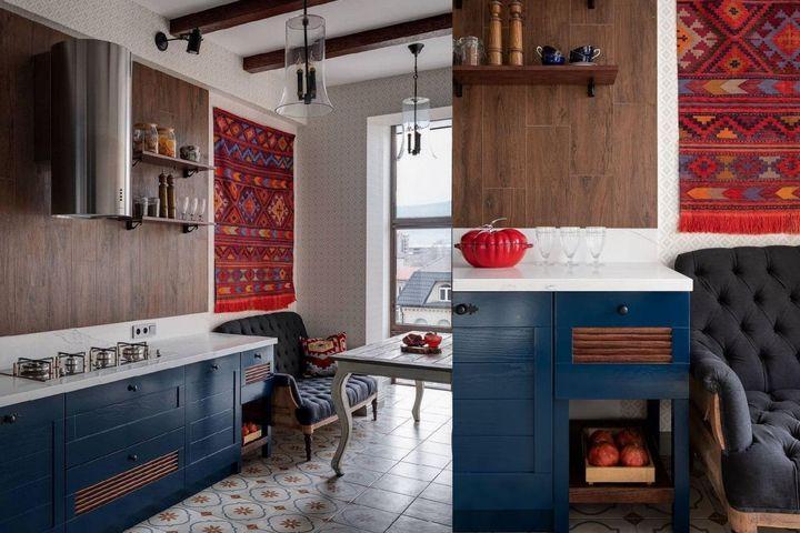 Этническая вышивка ковра на кухне