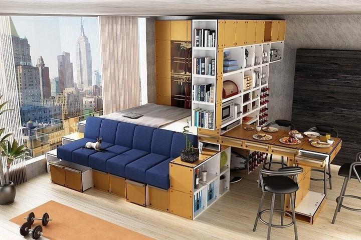 Функциональная мебель в студии