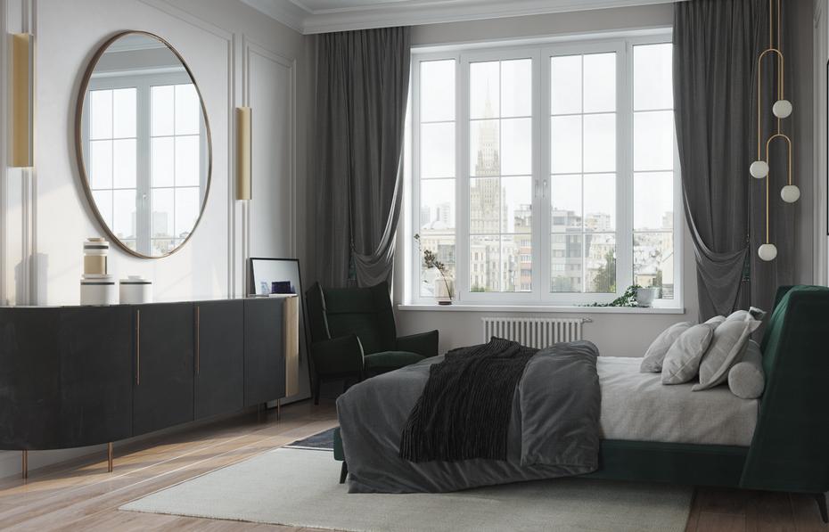 Лаконичная спальня по проекту Ремэлль