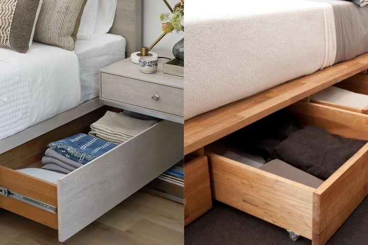 Выдвижные ящики в кровати