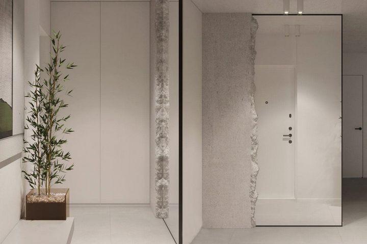 Стена с бетонной фактурой с пеной