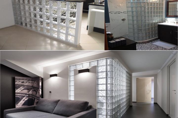 Стеклоблоки в разных комнатах квартиры