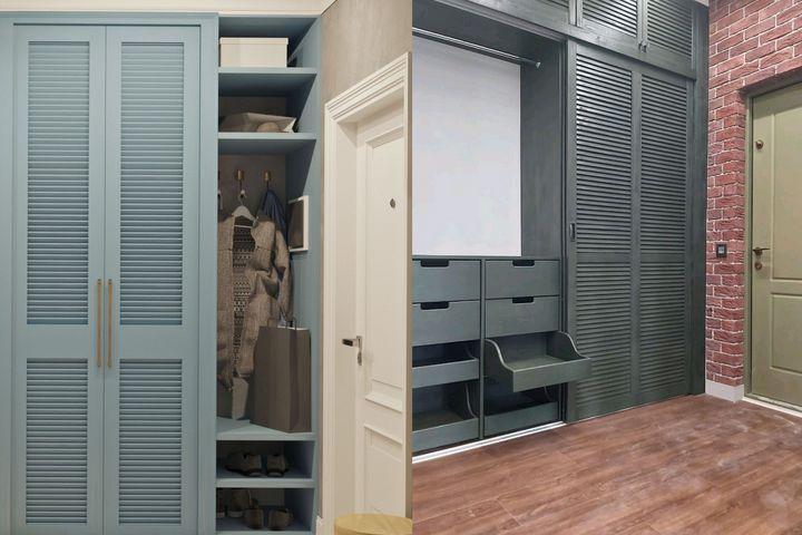 Реечные фасады шкафов в прихожей