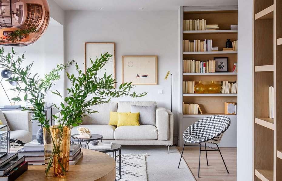 Дизайн гостиной-столовой в натуральных тонах