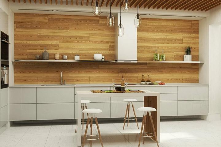 Кухня во всю стену без подвесных шкафов