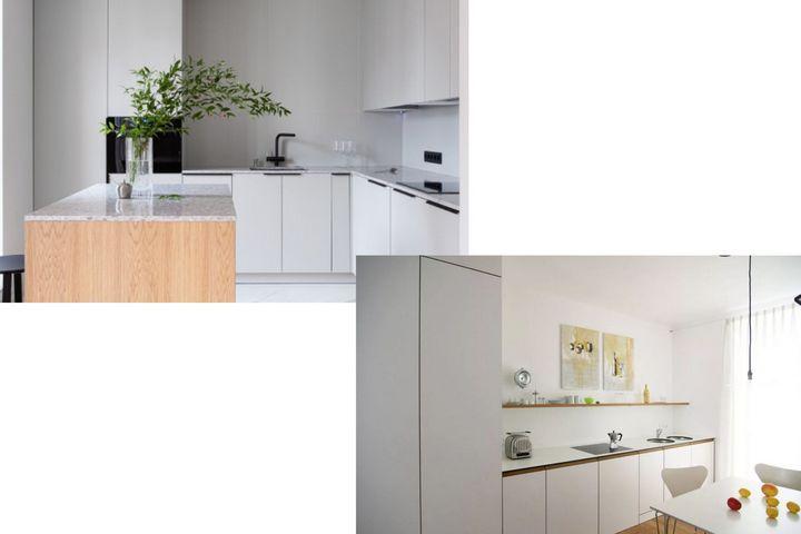 Однотонные белые кухни с полками и шкафами
