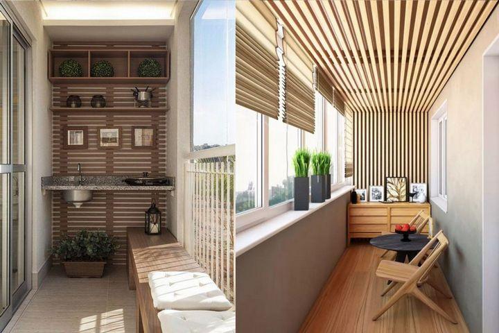 Рейки в оформлении балкона