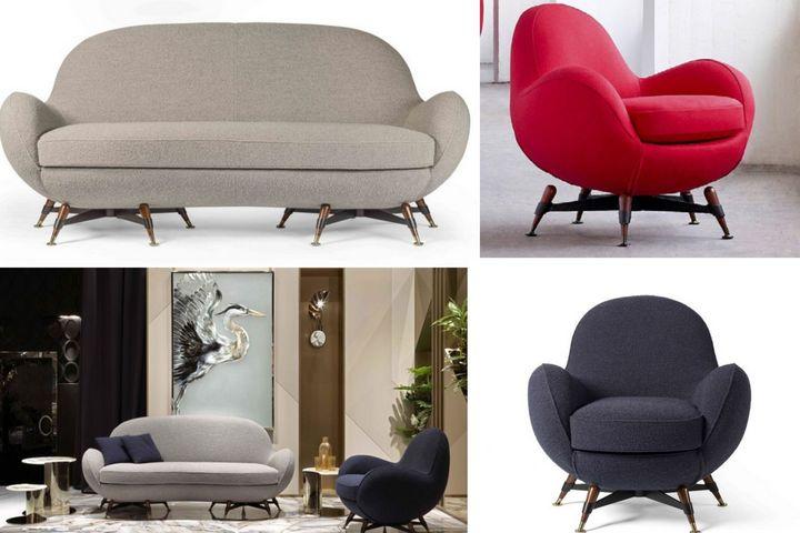 Объемные кресла и диван с необычными ножками