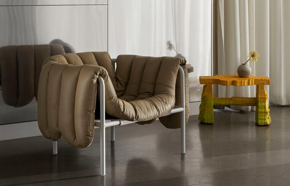 Необычное кресло с металлическим каркасом