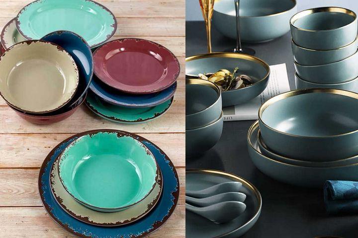 Цветная посуда с декором