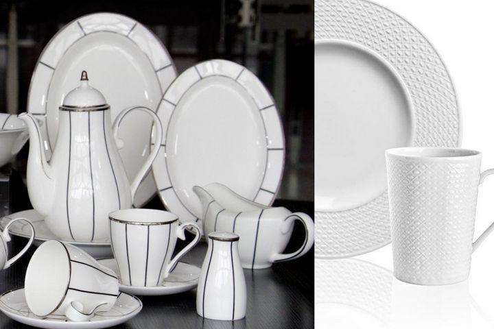 Белая посуда с декором и текстурами