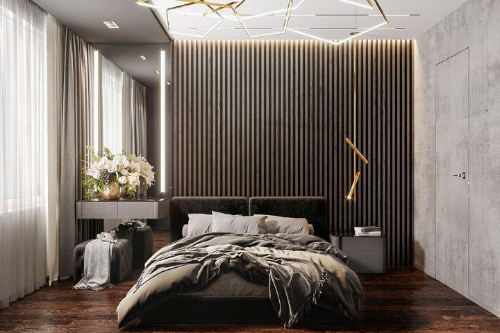 Главная стена в спальне с темными рейками