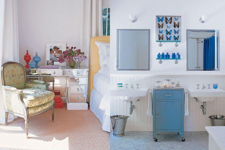 Спальня с зеркальным комодом и ванная комната