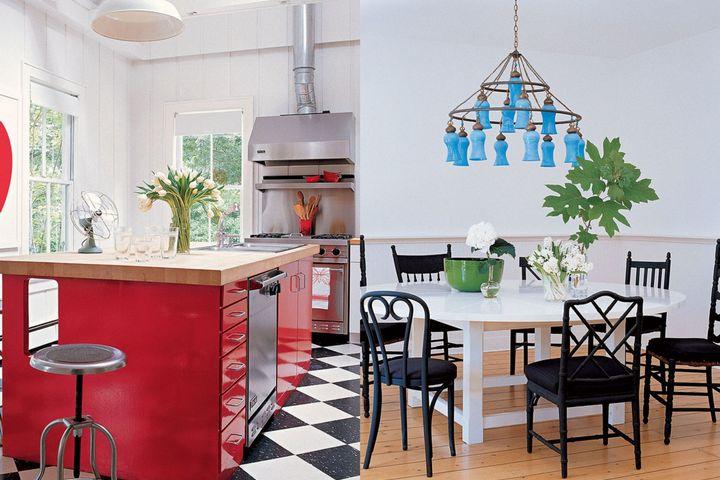 Яркие оттенки в кухне и столовой