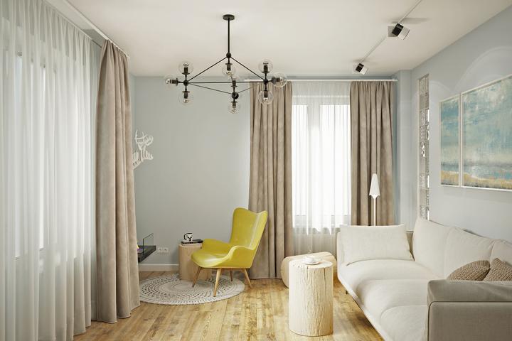 Интерьер гостиной по авторскому проекту Remelle на Горной улице