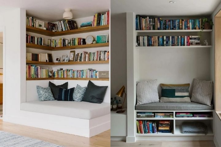 Библиотека в отдельной зоне квартиры