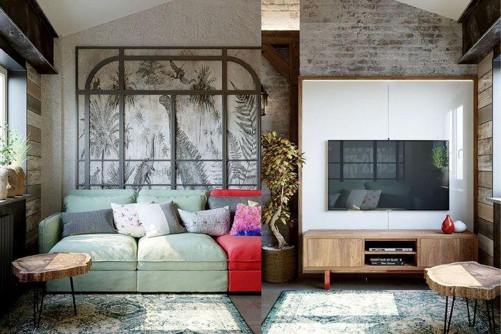 Декор стен и яркая мебель