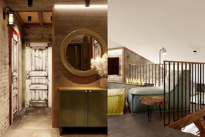 Холл в ванной комнате и зона отдых в спальне