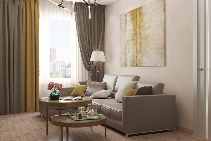 Крупный угловой диван в гостиной