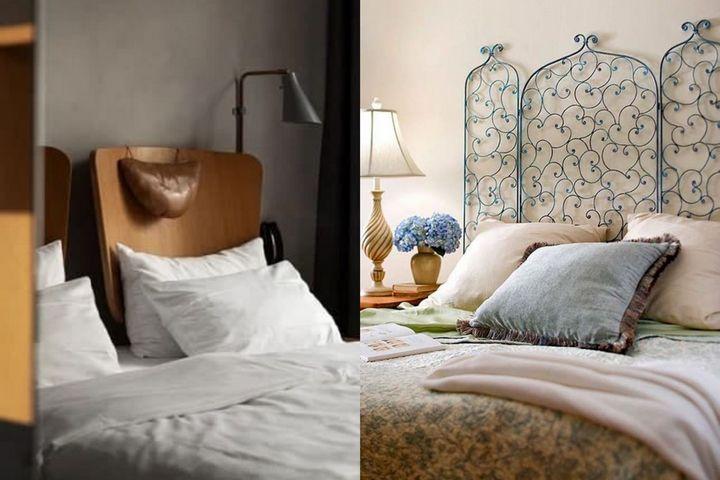 Самодельные изголовья кровати из стула и ажурного кованного элемента